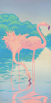 Flamingo Painting - abstract Pink Flamingos retro pop art nouveau tropical bird 80s 1980s florida painting print by Walt Curlee