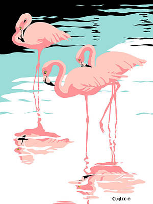 1980s Painting - Pink Flamingos Tropical 1980s Abstract Pop Art Nouveau Graphic Art Retro Stylized Florida Print by Walt Curlee