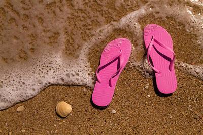 Pink Flip Flops On The Beach Original by Teri Virbickis