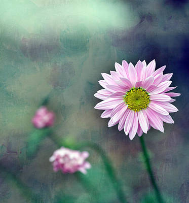 Pink Flower Center Print by Rebecca Cozart