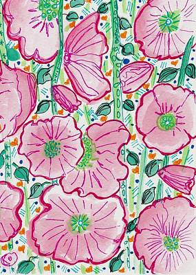 Folk Art Painting - Pink Flowers In The Forest by Rosalina Bojadschijew