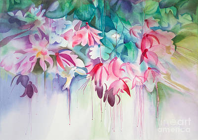 Pink Flowers Watercolor Print by Michelle Wiarda