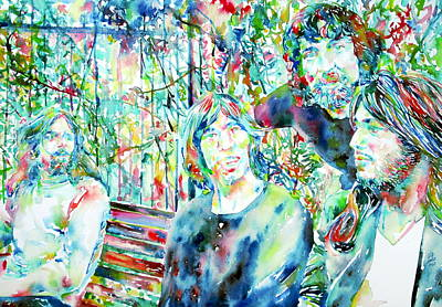 Pink Floyd At The Park Watercolor Portrait Print by Fabrizio Cassetta