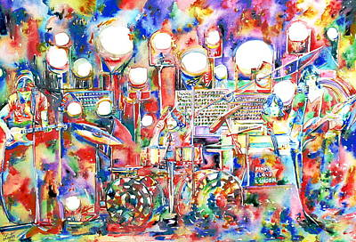 Pink Floyd Live Concert Watercolor Painting.1 Print by Fabrizio Cassetta