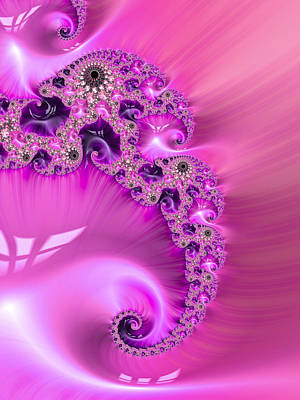 Rhinestone Digital Art - Pink Fractal Spiral For Girls by Matthias Hauser