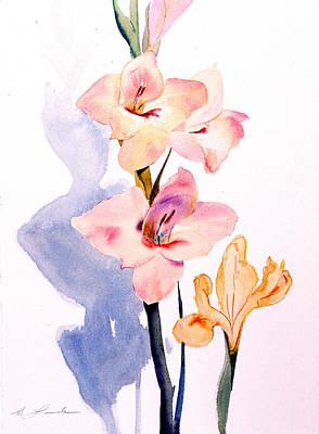 Pink Gladiolas Print by Mark Lunde