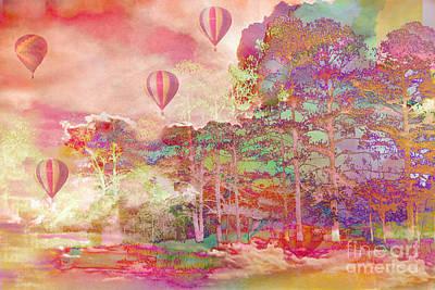 Abstract Digital Art Photograph - Pink Hot Air Balloons Abstract Nature Pastels - Dreamy Pastel Balloons by Kathy Fornal