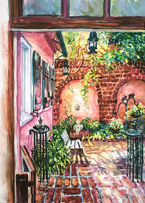 Charleston Houses Painting - Pink House Courtyard by Alice Grimsley