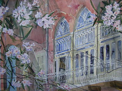 Oleanders Painting - Pink House Manara by Martin Giesen