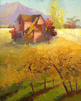 Pink House Yellow Field Print by Cathy Locke