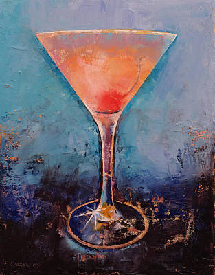Lemonade Painting - Pink Lemonade Martini by Michael Creese