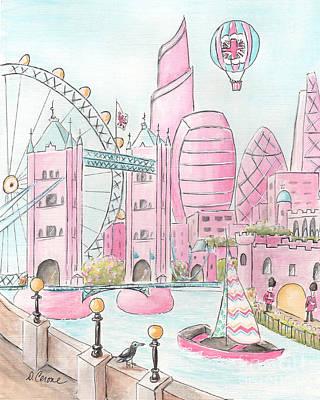 London Eye Painting - Pink London Skyline And London Eye by Debbie Cerone