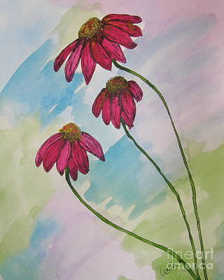 Abstracted Coneflowers Painting - Pink by Marcia Weller-Wenbert