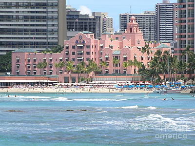 Pink Palace On Waikiki Beach Print by Mary Deal