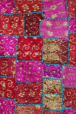 Pink Patchwork Indian Wall Hanging Print by Tim Gainey