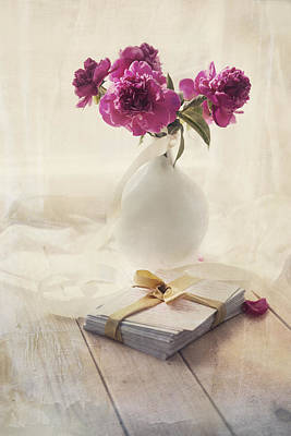 Paeony Photograph - Pink Peonies And Pile Of Letters On The Wooden Table by Jaroslaw Blaminsky