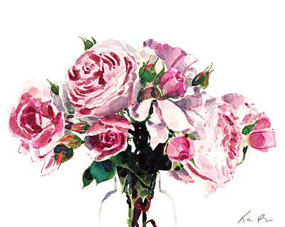 Pink Peonies And Roses Print by Laura Row Studio