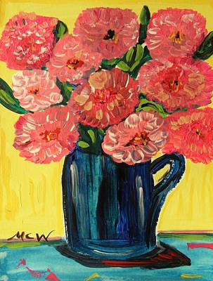 Visionary Art Drawing - Pink Peonies In Deep Blue By Mary Carol by Mary Carol Williams