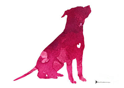 Pitbull Painting - Pink Pitbull Silhouette Large Poster by Joanna Szmerdt