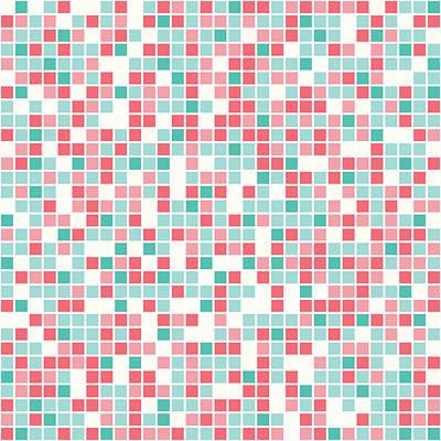 Pink Pixel Art Print by Mike Taylor