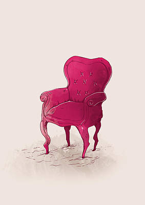 Chairs Digital Art - Pink by Randoms Print