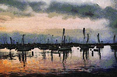 Row Boat Digital Art - Pink Reflections Monterey Bay by Barbara Snyder