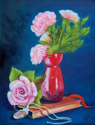 Pink Rose And Carnations Print by Joni McPherson