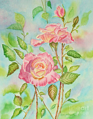 Pink Roses And Bud Print by Kathryn Duncan