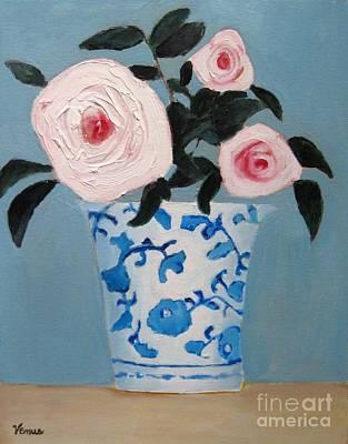 Painting - Pink Roses In A Porcelain Vase by Venus