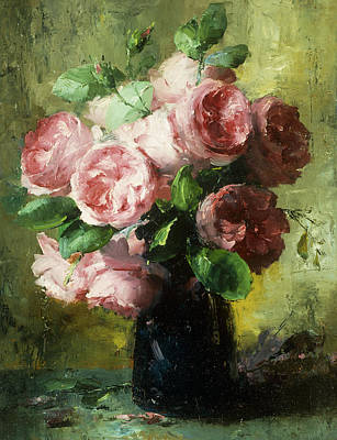Flora Painting - Pink Roses In A Vase by Frans Mortelmans