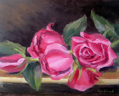 Iconic Painting - Pink Roses by Karin  Leonard