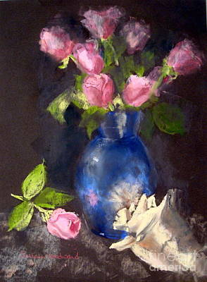 Shell Pastel Painting - Pink Roses by Susan Woodward