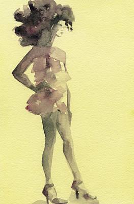 Woman Digital Art - Pink Ruffled Mini Dress Watercolor Fashion Illustration Art Print by Beverly Brown Prints