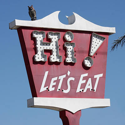 Message Art Photograph - Pink Sign - Let's Eat by Art Block Collections