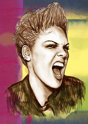 American Singer Mixed Media - Pink - Stylised Pop Art Drawing Portrait Poster  by Kim Wang