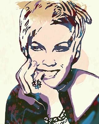 American Singer Mixed Media - Pink - Stylised Pop Art Poster by Kim Wang