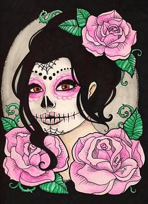 Sugar Skull Girl Drawing - Pink Sugar Girl by Katie Essman