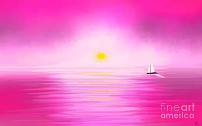 Pink Sunset Print by Anita Lewis