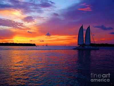 Pink Sunset In Key West Florida Print by Susanne Van Hulst
