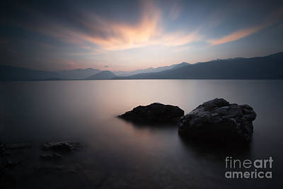 Nature Photograph - Pink Sunset Over Lake Maggiore North Italy by Matteo Colombo