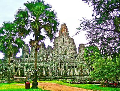 Angkor Digital Art - Pink Tower In The Bayon In Angkor Thom In Angkor Wat Archeological Park Near Siem Reap-cambodia by Ruth Hager