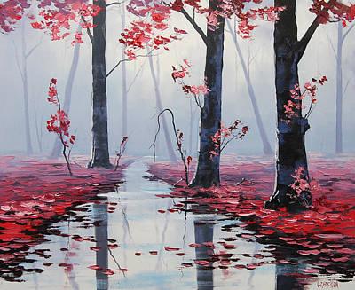 Gercken Painting - Pink Trees River Landscape by Graham Gercken