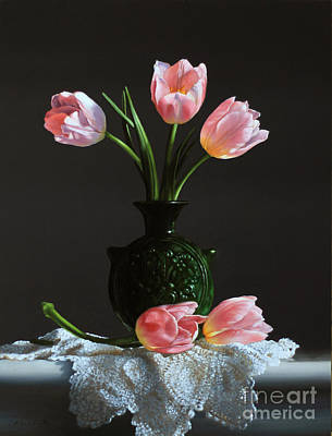 Water Jug Painting - Pink Tulips In A Water Jug by Larry Preston