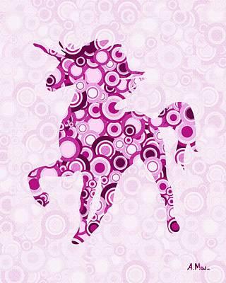 Pink Unicorn - Animal Art Print by Anastasiya Malakhova