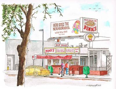 Hot Dogs Painting - Pinks Chili Dogs, Hollywood, California by Carlos G Groppa
