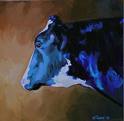 Steer Painting - Pinto by Kathleen C Taylor