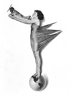 Pinup Woman Holding A Plane Print by Underwood Archives
