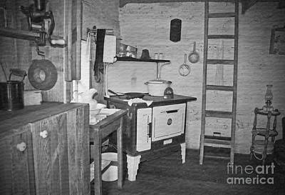 Pioneer Kitchen With Wood Stove Print by Valerie Garner