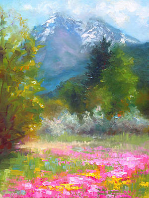 Aerial Perspective Painting - Pioneer Peaking - Flowers And Mountain In Alaska by Talya Johnson