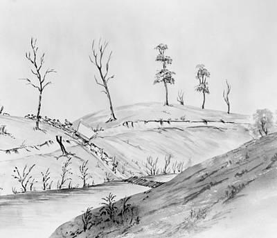 Covered Bridge Drawing - Pioneers, 1849 by Granger
